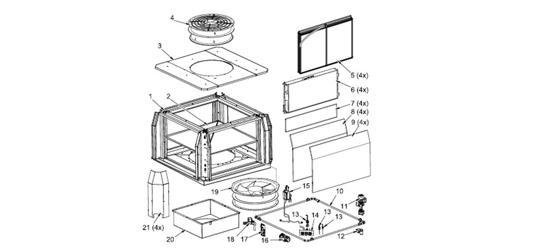 główne komponenty urządzeń do wentylacji i chłodzenia hal